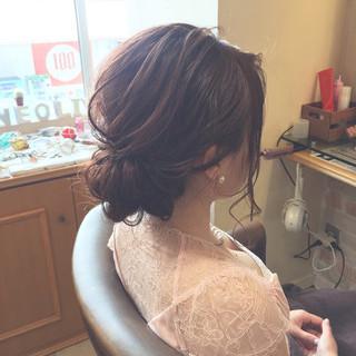 大人かわいい ショート 簡単ヘアアレンジ 編み込み ヘアスタイルや髪型の写真・画像