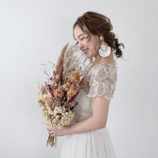 ヘアセット 結婚式ヘアアレンジ ヘアアレンジ セミロング ヘアスタイルや髪型の写真・画像