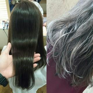 ナチュラル ストレート パーマ フェミニン ヘアスタイルや髪型の写真・画像