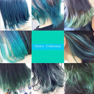 ミディアム ヘアカラー エメラルドグリーンカラー インナーグリーン ヘアスタイルや髪型の写真・画像
