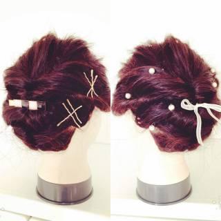 ショート 簡単ヘアアレンジ アップスタイル ミディアム ヘアスタイルや髪型の写真・画像