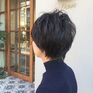 オフィス ゆるふわ パーマ ショート ヘアスタイルや髪型の写真・画像