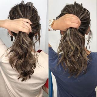切りっぱなしボブ 外国人風カラー グレージュ ハイライト ヘアスタイルや髪型の写真・画像