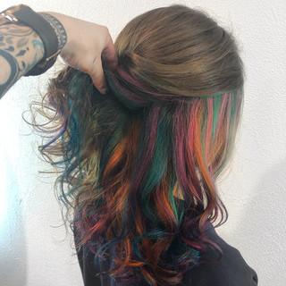 モード 個性的 カラフルカラー ハイライト ヘアスタイルや髪型の写真・画像