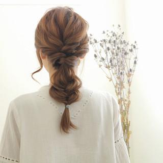 編み込み ロング ショート 簡単ヘアアレンジ ヘアスタイルや髪型の写真・画像