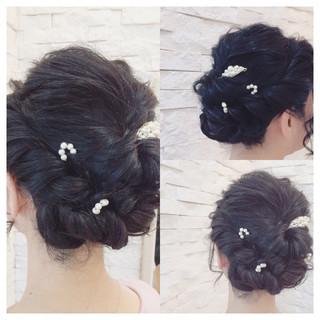 フェミニン 簡単ヘアアレンジ ゆるふわ ショート ヘアスタイルや髪型の写真・画像