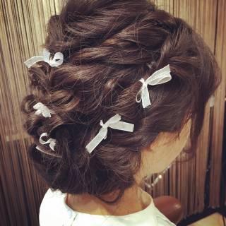 ゆるふわ ヘアアレンジ 編み込み 結婚式 ヘアスタイルや髪型の写真・画像
