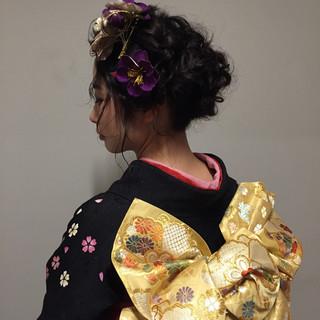 ガーリー ヘアアレンジ アップスタイル デート ヘアスタイルや髪型の写真・画像