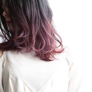 ピンクベージュ ピンク ラベンダーピンク ベリーピンク ヘアスタイルや髪型の写真・画像