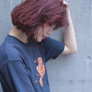 バーム ピンク ストリート 透明感 ヘアスタイルや髪型の写真・画像
