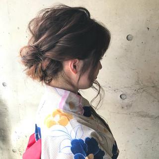 ヘアアレンジ ミディアム ナチュラル まとめ髪 ヘアスタイルや髪型の写真・画像