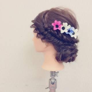 コンサバ 二次会 モテ髪 編み込み ヘアスタイルや髪型の写真・画像