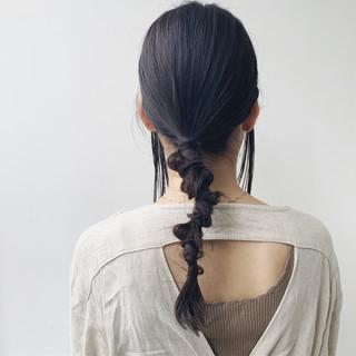 ナチュラル 簡単ヘアアレンジ セルフヘアアレンジ セミロング ヘアスタイルや髪型の写真・画像
