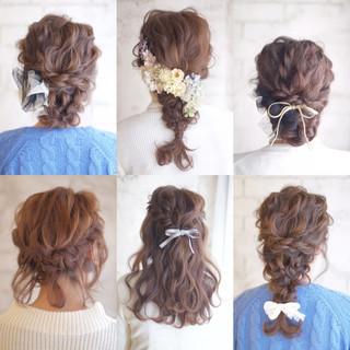 セミロング ヘアアレンジ 大人かわいい 結婚式 ヘアスタイルや髪型の写真・画像