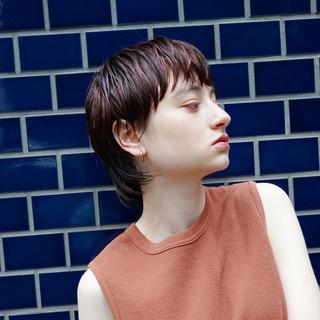 ショート ウェットヘア 小顔 似合わせ ヘアスタイルや髪型の写真・画像
