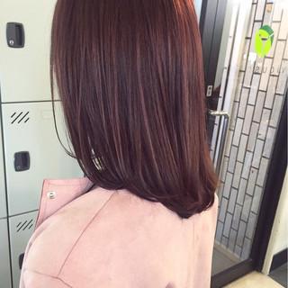 ラベンダーピンク ミディアム ベリーピンク レッド ヘアスタイルや髪型の写真・画像