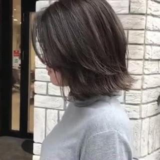ボブ ダークトーン ダークアッシュ 切りっぱなしボブ ヘアスタイルや髪型の写真・画像