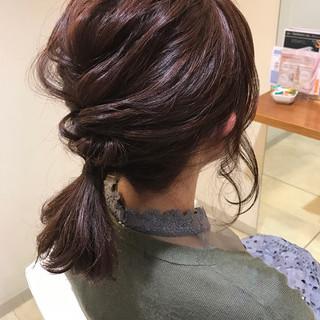簡単ヘアアレンジ ハーフアップ ガーリー 編み込み ヘアスタイルや髪型の写真・画像