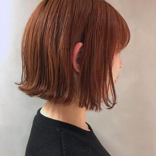 ナチュラル 切りっぱなしボブ ボブ オレンジブラウン ヘアスタイルや髪型の写真・画像