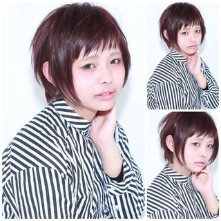 ナチュラル レッド ダブルカラー ショート ヘアスタイルや髪型の写真・画像
