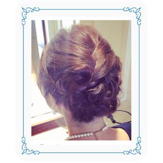 デート フェミニン 編み込み ヘアアレンジ ヘアスタイルや髪型の写真・画像