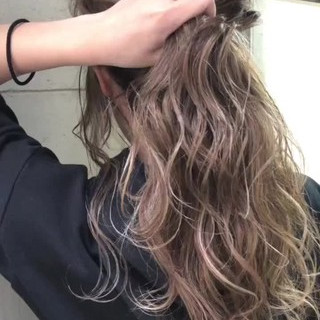 モード グレージュ セミロング 外国人風カラー ヘアスタイルや髪型の写真・画像