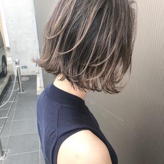 女子力 ボブ 外国人風カラー グレージュ ヘアスタイルや髪型の写真・画像
