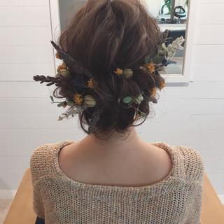 デート ミディアム ゆるふわ ヘアアレンジ ヘアスタイルや髪型の写真・画像