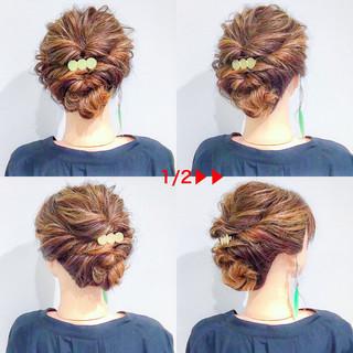 エレガント ヘアアレンジ 上品 アウトドア ヘアスタイルや髪型の写真・画像