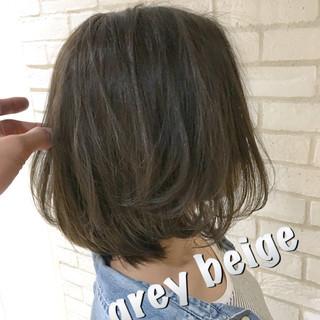 大人女子 ボブ ショートボブ グレージュ ヘアスタイルや髪型の写真・画像