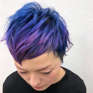 カラフルカラー ハイトーン 個性的 ショート ヘアスタイルや髪型の写真・画像