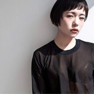 モード ストリート 黒髪 ショート ヘアスタイルや髪型の写真・画像