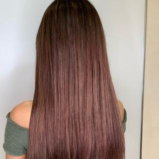 ピンク ロング ピンクブラウン エレガント ヘアスタイルや髪型の写真・画像