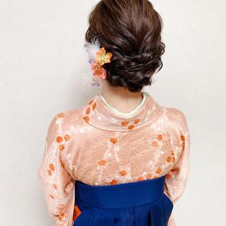卒業式 エレガント セミロング 結婚式ヘアアレンジ ヘアスタイルや髪型の写真・画像