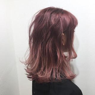 ミルクティー ピンク ガーリー ダブルカラー ヘアスタイルや髪型の写真・画像