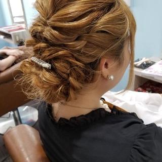 編み込み エレガント 二次会 ヘアアレンジ ヘアスタイルや髪型の写真・画像