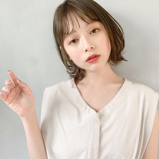 シースルーバング 大人かわいい ミディアム ひし形シルエット ヘアスタイルや髪型の写真・画像