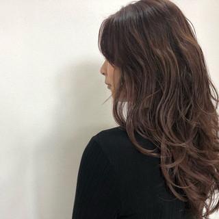 ピンクバイオレット ナチュラル セミロング ピンクラベンダー ヘアスタイルや髪型の写真・画像