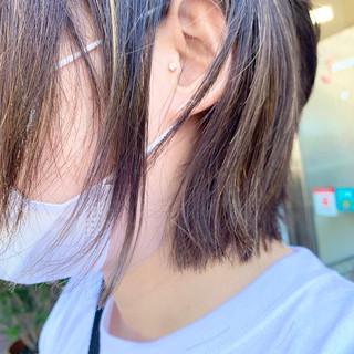 裾カラー ナチュラル ミニボブ ハイライト ヘアスタイルや髪型の写真・画像