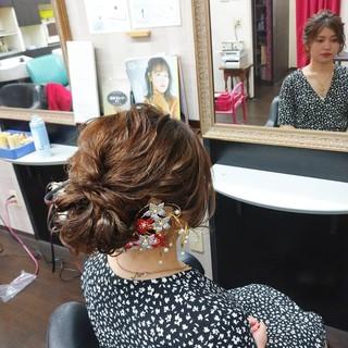 ナチュラル ヘアアレンジ ふわふわヘアアレンジ 浴衣ヘア ヘアスタイルや髪型の写真・画像