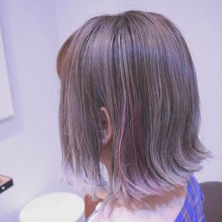 インナーカラー ストリート グラデーションカラー 外ハネ ヘアスタイルや髪型の写真・画像