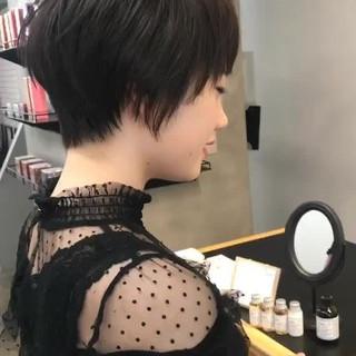 ショート ショートボブ 黒髪 ナチュラル ヘアスタイルや髪型の写真・画像