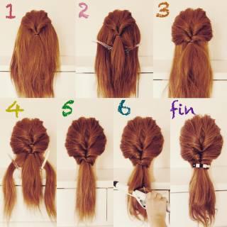 くるりんぱ セルフヘアアレンジ 簡単ヘアアレンジ ガーリー ヘアスタイルや髪型の写真・画像