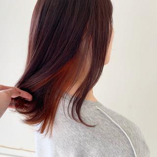ヘアアレンジ インナーカラー ナチュラル デート ヘアスタイルや髪型の写真・画像