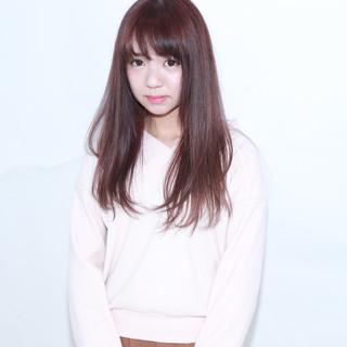 ロング ワイドバング 前髪あり ラベンダーピンク ヘアスタイルや髪型の写真・画像