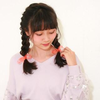 ヘアアレンジ セミロング ガーリー 三つ編み ヘアスタイルや髪型の写真・画像
