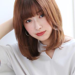 ミディアムレイヤー ミディアムヘアー ナチュラル ミディアム ヘアスタイルや髪型の写真・画像