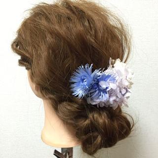 夏 ショート ヘアアレンジ 結婚式 ヘアスタイルや髪型の写真・画像
