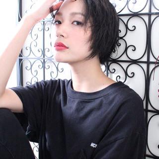 簡単ヘアアレンジ ナチュラル ショート 黒髪 ヘアスタイルや髪型の写真・画像