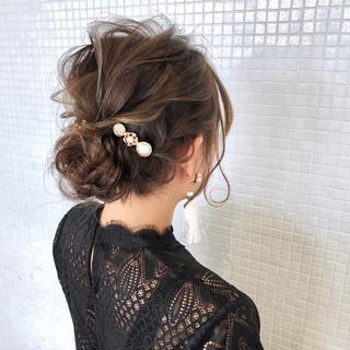エレガント ギブソンタック ミディアム 結婚式ヘアアレンジ ヘアスタイルや髪型の写真・画像